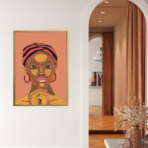 Lady Lila Art Print in Sandstone