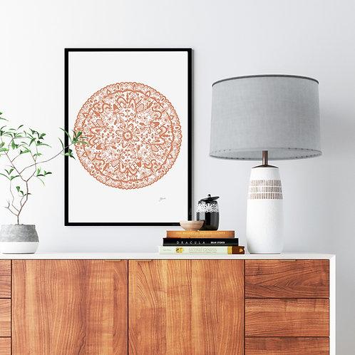 Sahara Mandala Print in Sandstone