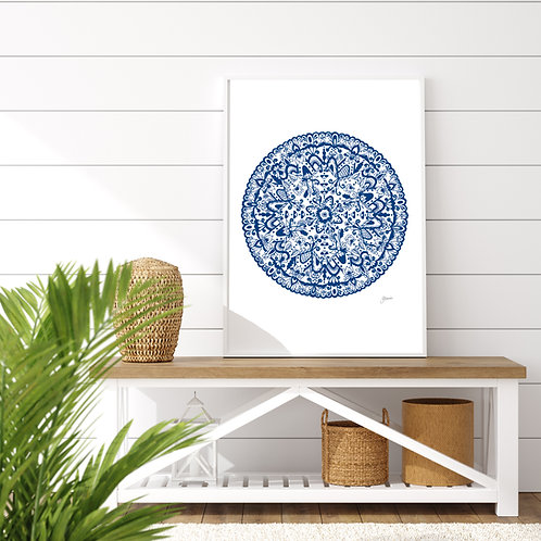 Sahara Mandala in Navy Wall Art | FRAMED