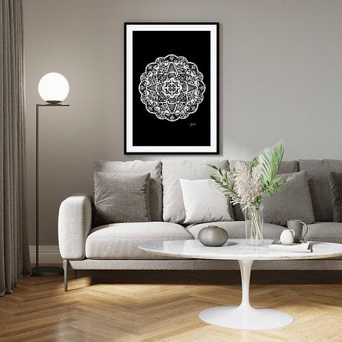 Marrakesh Mandala in Solid Black Wall Art | FRAMED