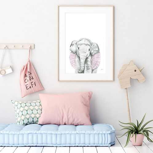 Lacey the Elephant Print