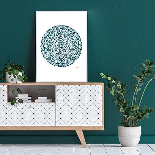 Sahara Mandala in Teal Wall Art | FRAMED