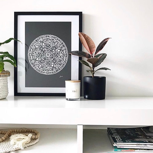 Sahara Mandala Print in Solid Black