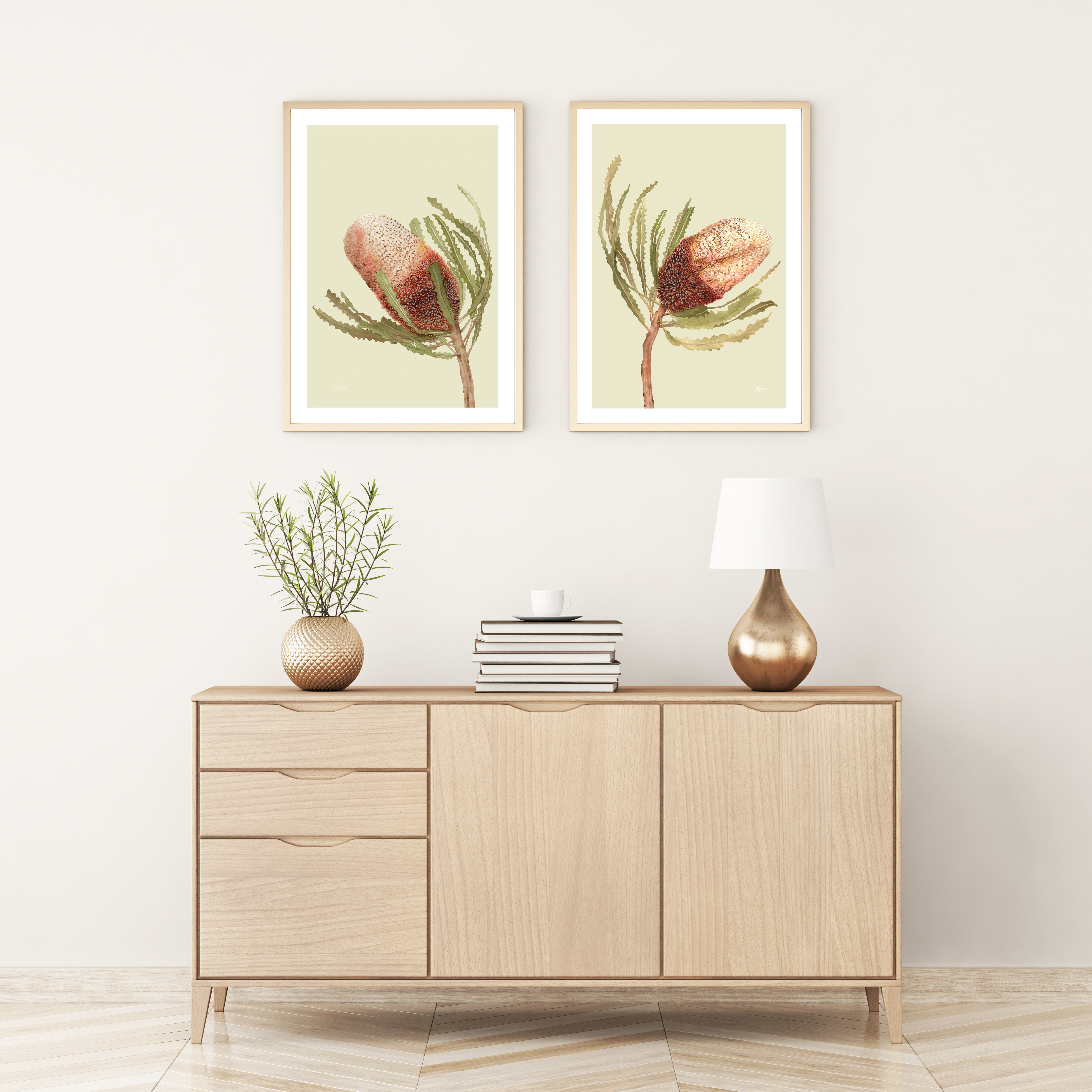 Banksia Native Living Art Flower 1 & 2 in Pale Sage Art Print