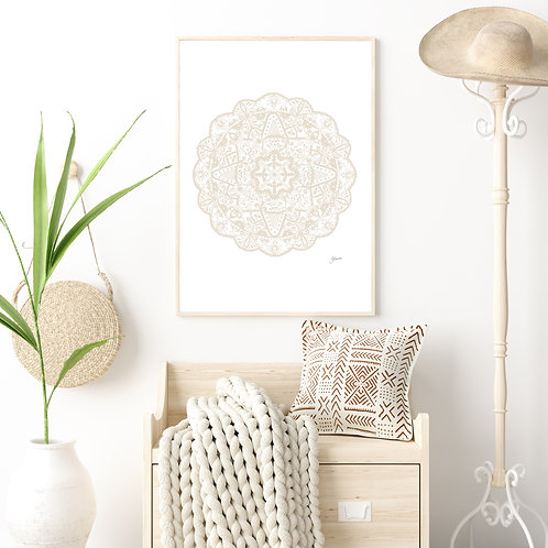 Marrakesh Mandala in Ivory Wall Art | FRAMED