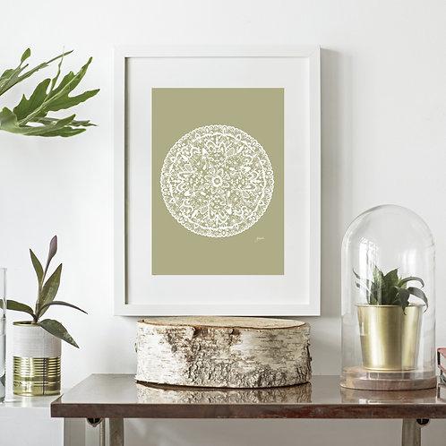 Sahara Mandala Art Print in Sage Solid