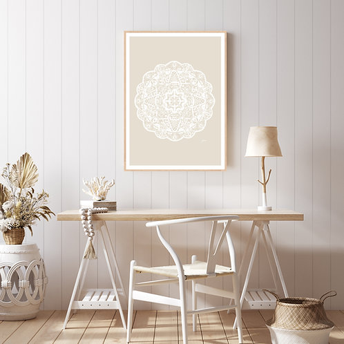 Marrakesh Mandala in Ivory Solid Wall Art | FRAMED