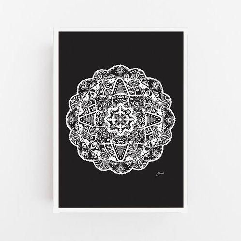 Marrakesh Mandala in Solid Black Wall Art | CANVAS