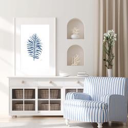 Fine Leaf Living Art in Navy Blue