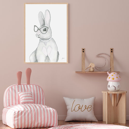 Frankie the Fancy Bunny Rabbit Fine Art Print | FRAMED