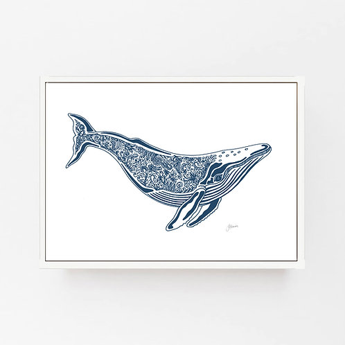 Harry the Humpback Whale Print in Navy Blue Wall Art | CANVAS