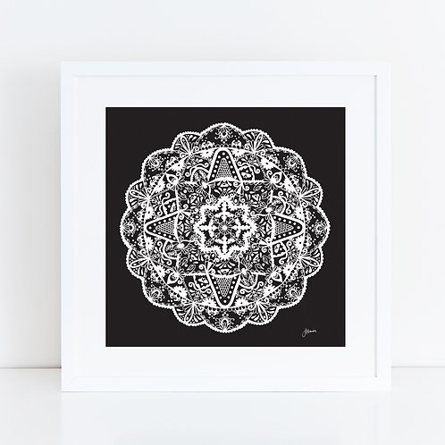 Marrakesh Mandala in Solid Black Wall Art | FRAMED