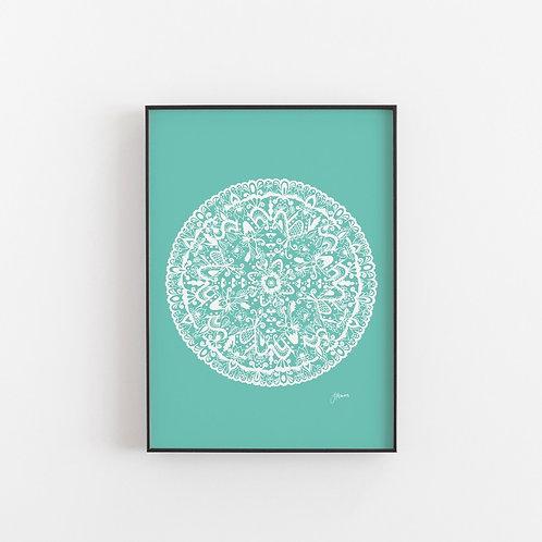 Sahara Mandala Print White & Mint