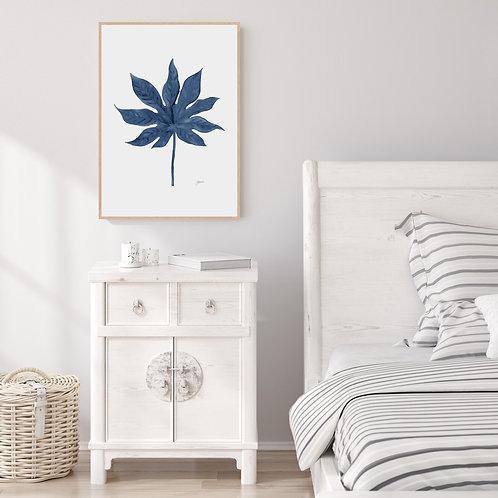 Aralia Living Art Leaf Wall Art in Navy Blue | FRAMED