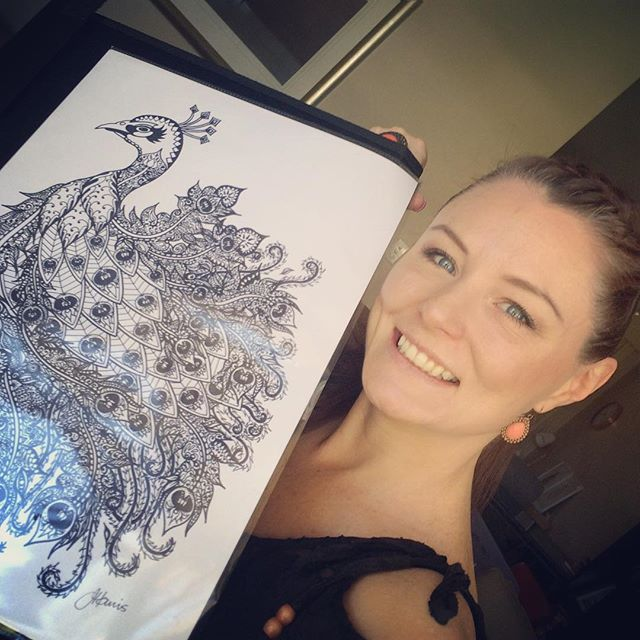This is me with my original artwork - Bohemian Royal Peacock_Prints from this original artwork are n