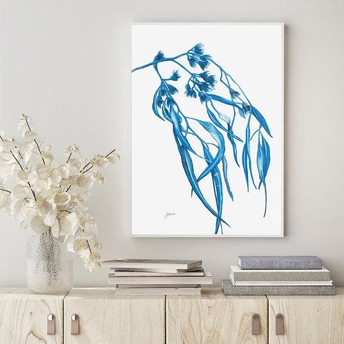 Navy Gum Leaf Flora 2 Living Art Print
