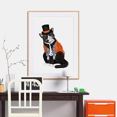 Wesley the Dapper Cat Art Print
