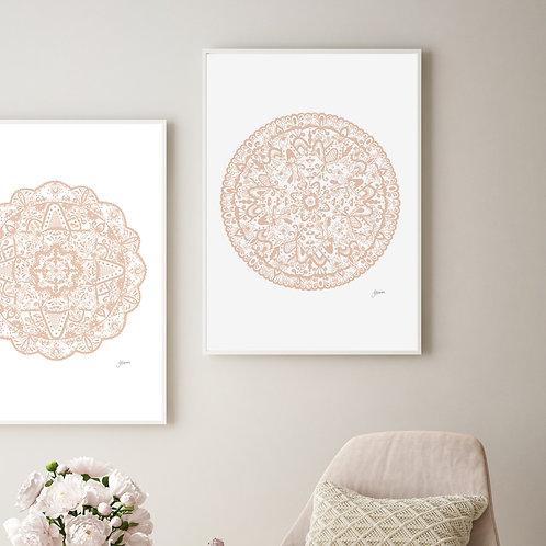 Sahara Mandala in Light Blush Wall Art | FRAMED