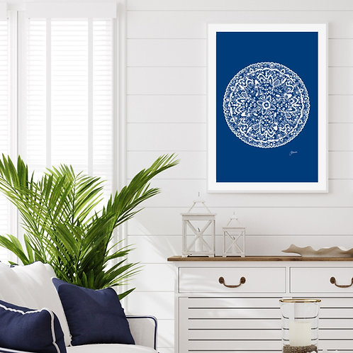 Sahara Mandala in Solid Navy Wall Art| FRAMED