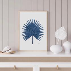 Fan Palm Living Art in Navy Blue