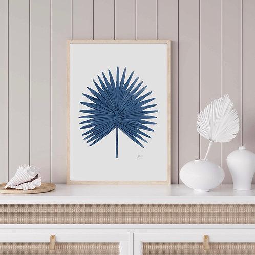 Fan Palm Living Art Leaf Print in Navy Blue