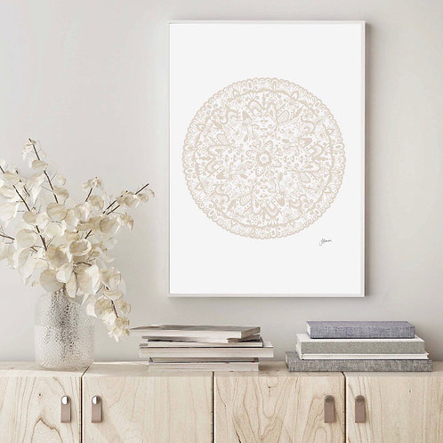 Sahara Mandala in Ivory Wall Art | FRAMED