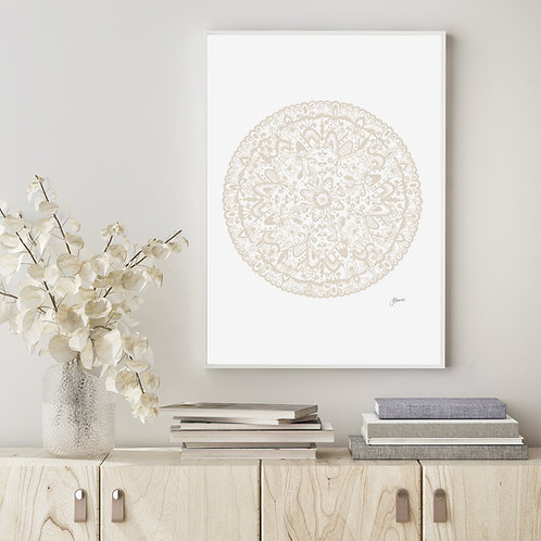 Sahara Mandala Art Print in Ivory