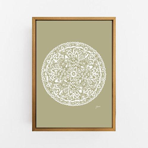 Sahara Mandala in Solid Sage Wall Art | CANVAS