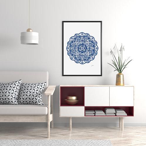 Marrakesh Mandala Print in Navy