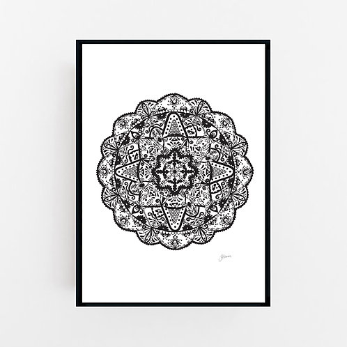 Marrakesh Mandala in Black Wall Art | CANVAS