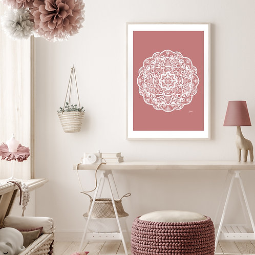 Marrakesh Mandala Art Print in Blush Solid
