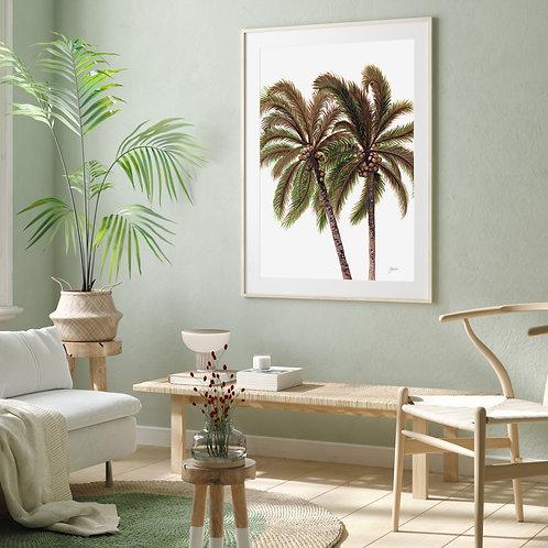 Palm Breeze in White Art Print