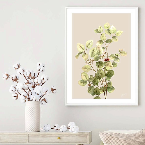 Eucalyptus Native Living Art 3 in Ivory Art Print