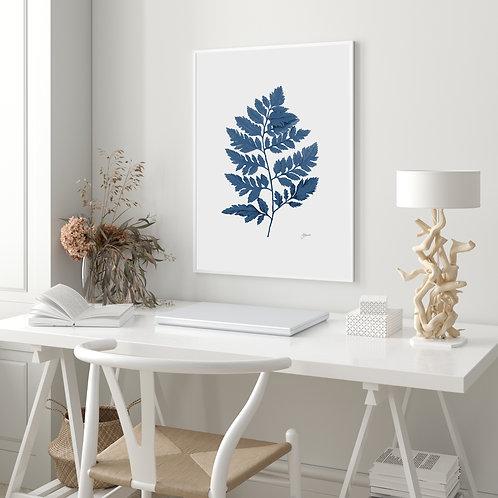 Lush Fern Living Wall Art in Navy Blue   FRAMED
