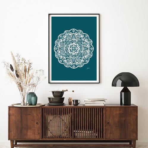 Marrakesh Mandala in Teal Solid Wall Art | FRAMED