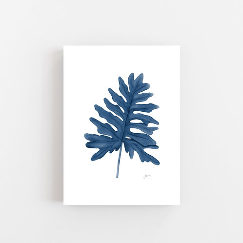 Philodendron Living Art Leaf Print in Navy Blue Wall Art | CANVAS