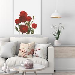 Peonies in Deep Red Maroon Burgundy Living Wall Art | FRAMED