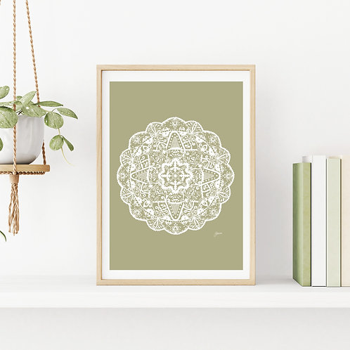 Marrakesh Mandala Art Print in Sage Solid