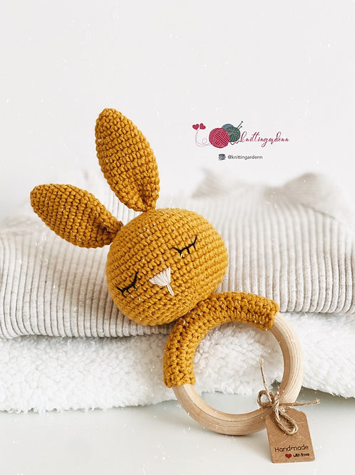 Bunny Wooden Teething Ring Rattle