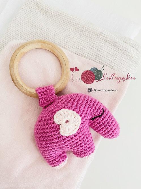 Elephant Teething Ring Rattle