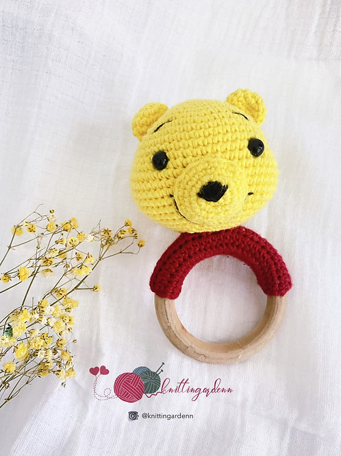 Winnie the Pooh Teething Ring Rattle