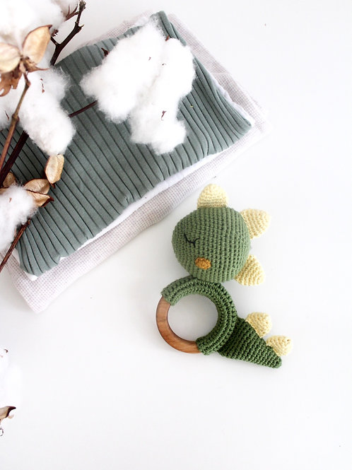 Mr. Dino  Organic Teething Rattle
