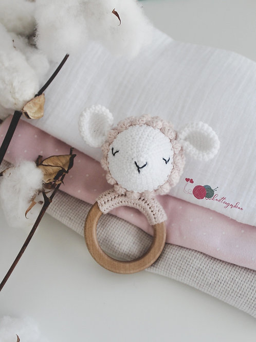 Lamby Organic Teething Rattle