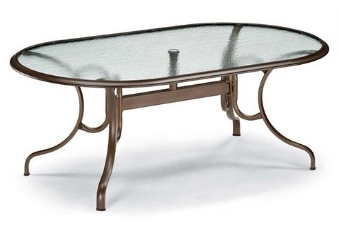 """75"""" Oval Glass Top Table"""