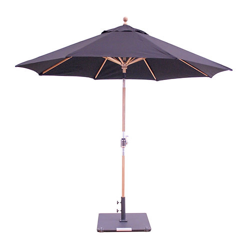 9' Teak Market Umbrella with Anodized Aluminum Crank