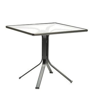 "32"" Square Pedestal Glass Table"