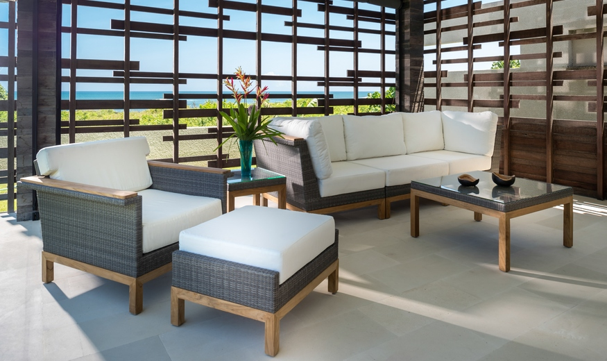 Kingsley Bate Azores Lounge Chair and Ottoman and Sofa and Coffee Table