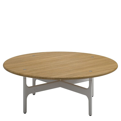 Gloster Grand Weave Round Coffee Table w/ Teak Top