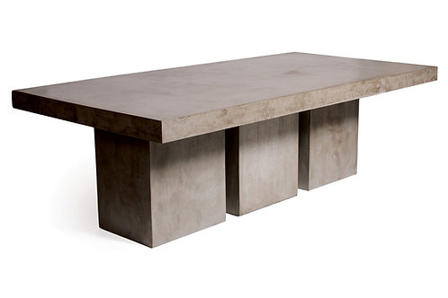 "Tuscan Concrete Dining Table with 3-Leg Base Set 97""x49"""
