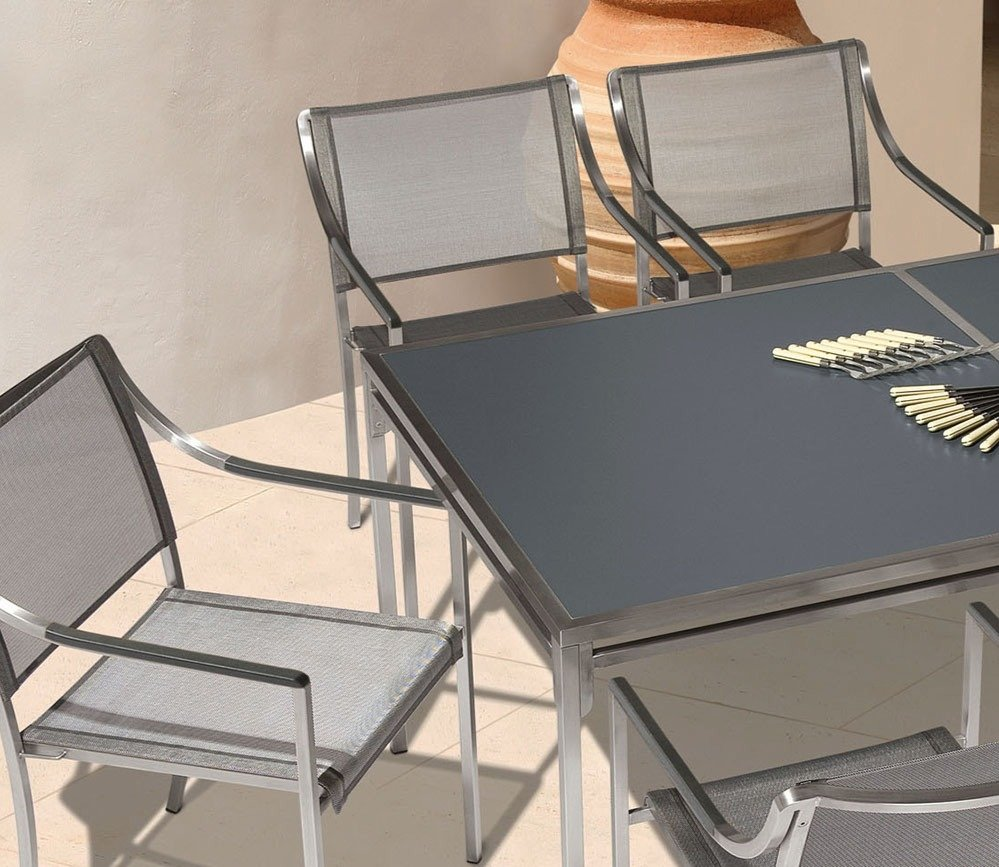 Barlow Tyrie Quattro Dining Arm Chairs and Dining Table